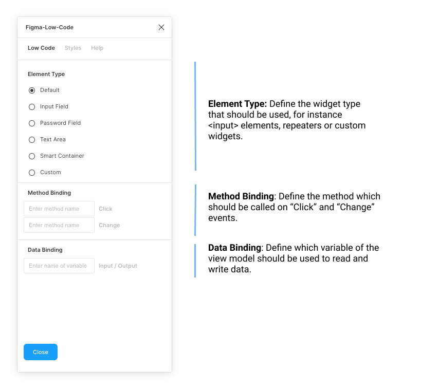 The Figma plugin defines the wiring between design and business logic