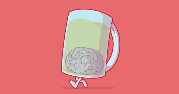 Brain in a pint glass with a handle