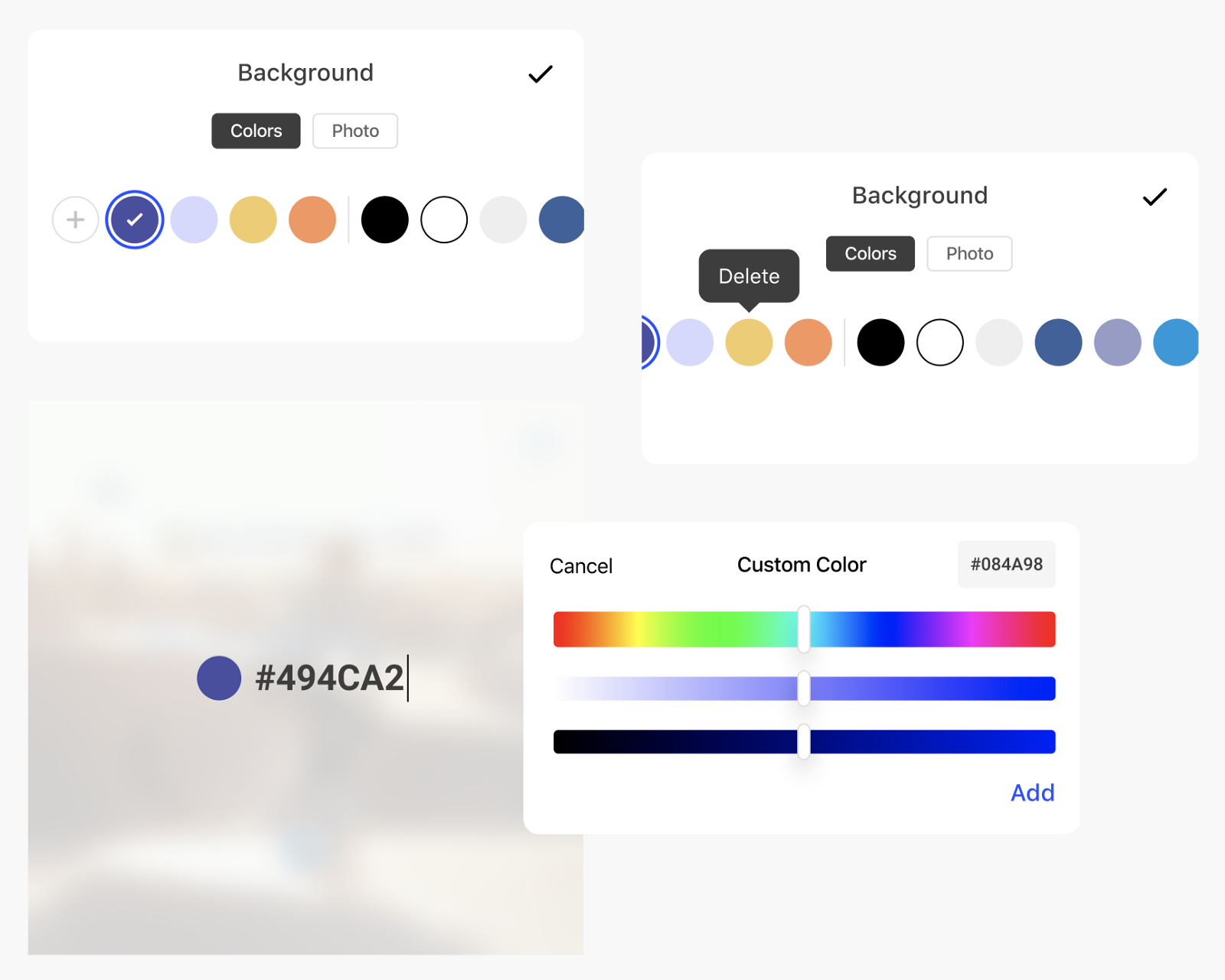 Edit and save colors in the app