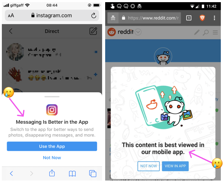 Instagram (left) and Reddit (right) ask you to download the mobile app whilst using website