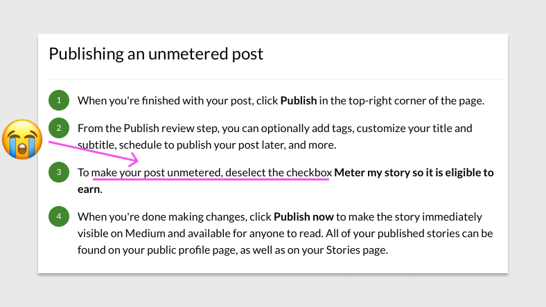 Deselect the checkbox to Unmeter your post?
