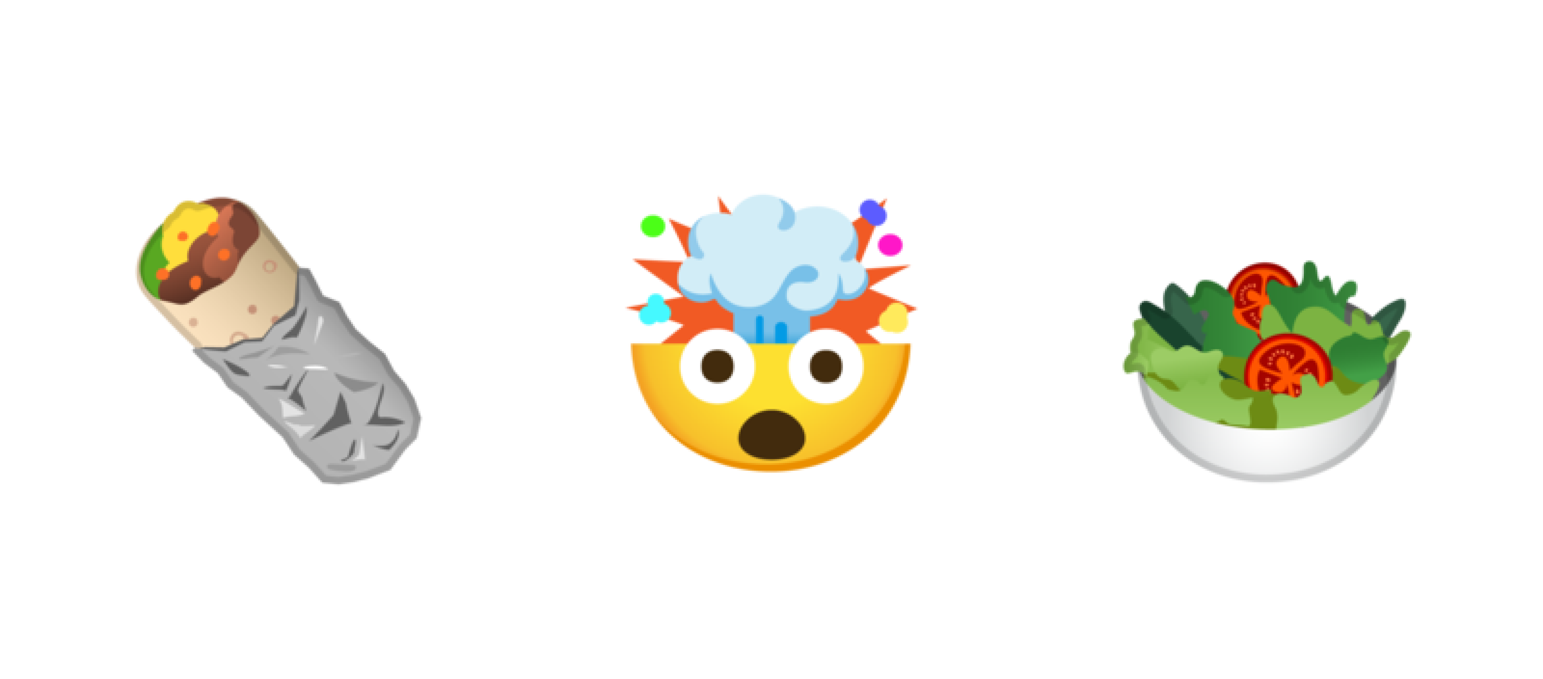 The 3 Google emojis mentioned above: burrito, mind-blown, and salad