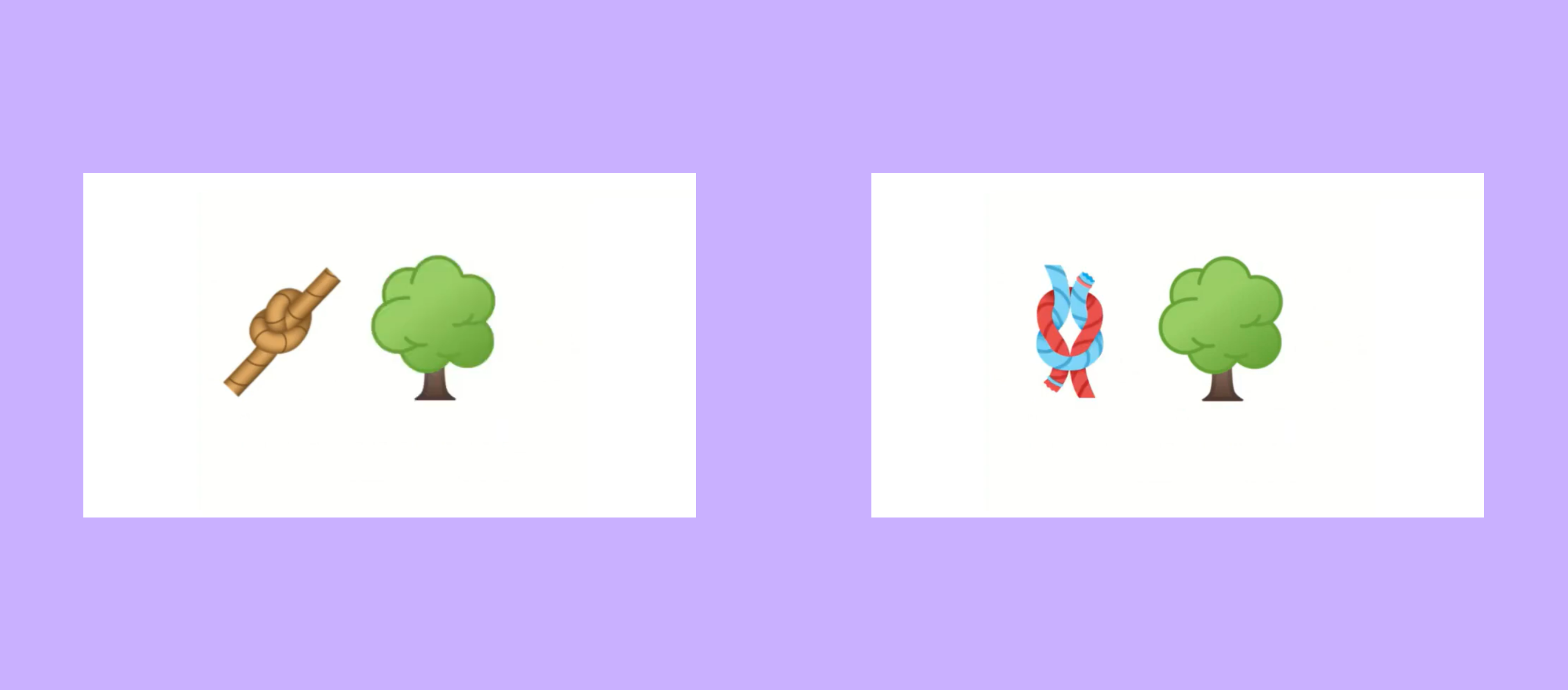 2 images: one of the old knot design next to a tree, and one of the new knot design next to a tree