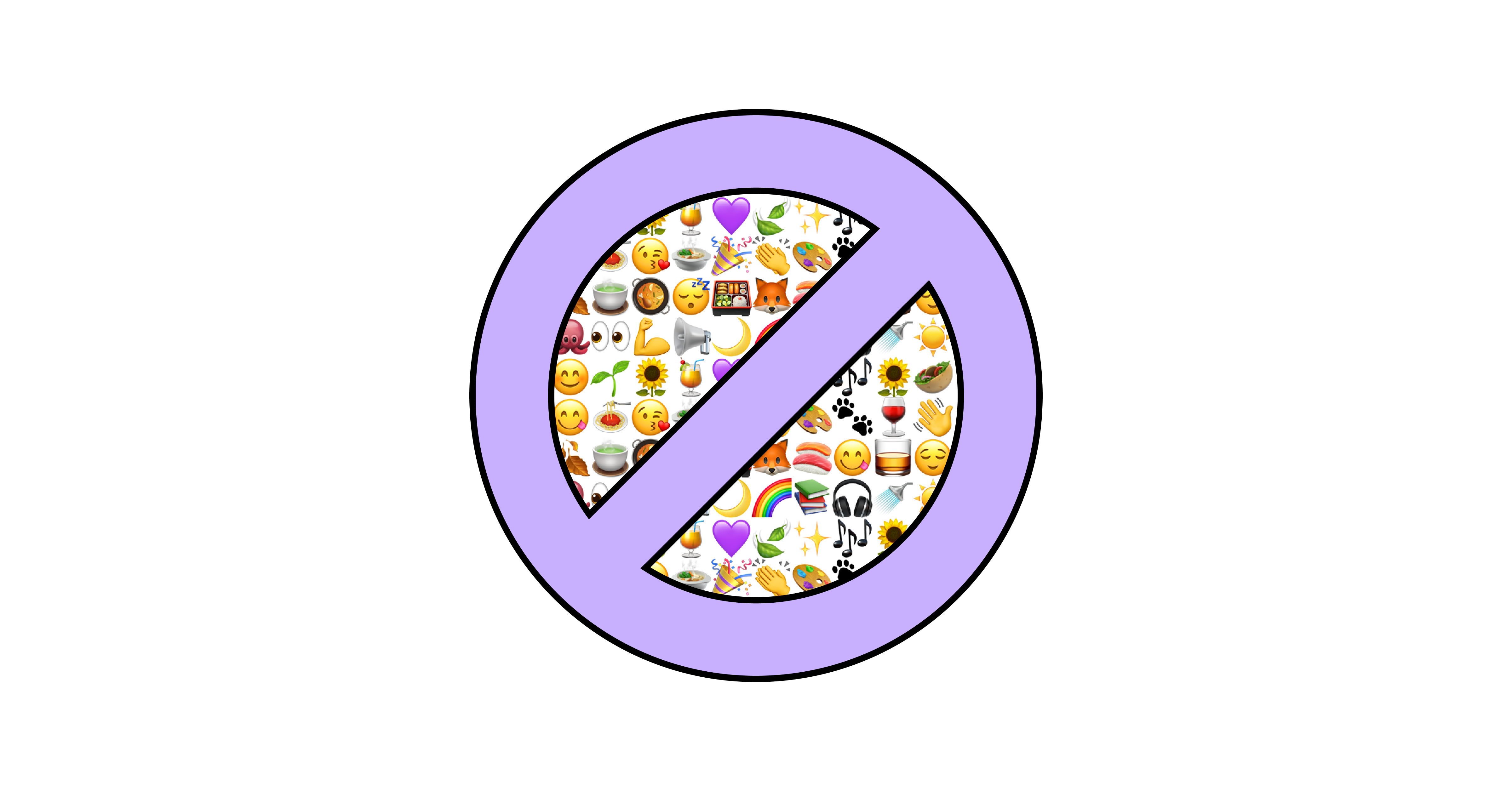 """A big purple """"forbidden"""" sign, behind which are a lot of emojis"""